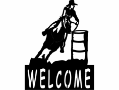 Barrel Racer welcome sign dxf File