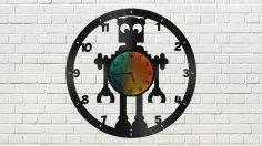 Robot Clock Free Vector