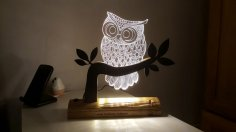 Owl 3D LED Night Light DXF File