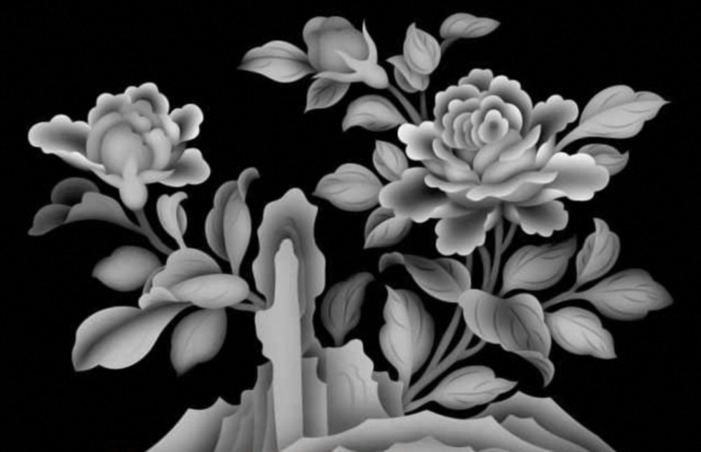 Flowers 3D Grayscale Images for 3D Engraving BMP File