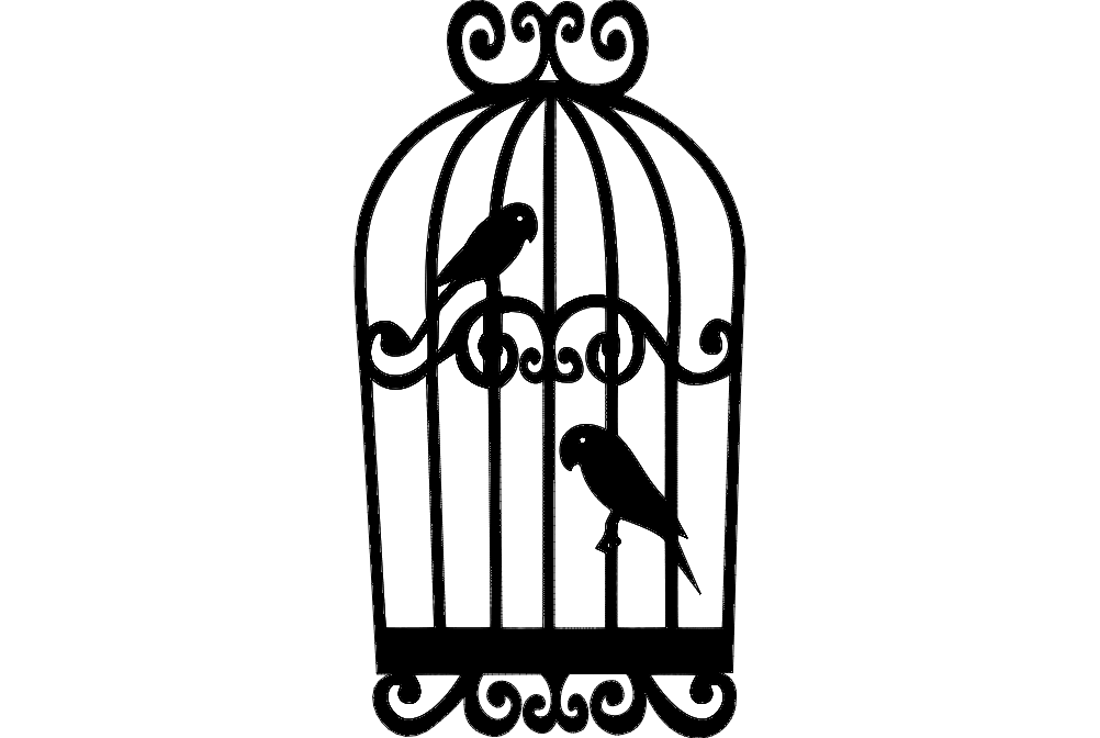 Parrots in cage dxf File