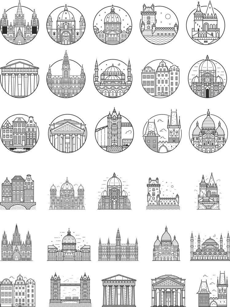 Europe City Outlined Vectors CDR File