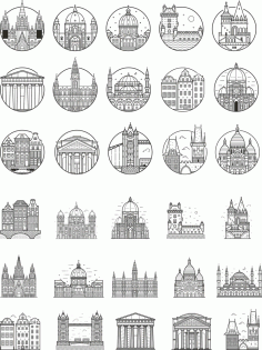 Europe City Outlined Vectors Free Vector