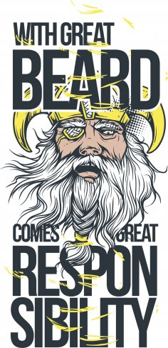 Great Beard Print Free Vector