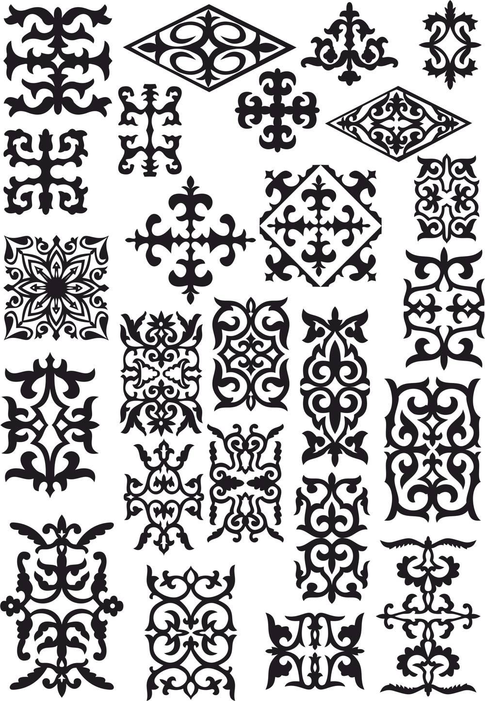 Kazakh Ornament Set Of Elements CDR File