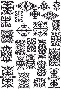 Kazakh Ornament Set Of Elements Free Vector