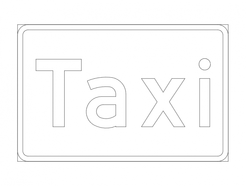 Taxi Road Sign dxf File