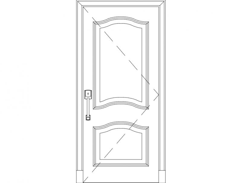 Wooden Single Door Design dxf File
