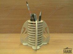 Pencil Box Desk Organizer Laser Cut Free Vector