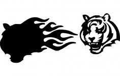 Bengals With Flames 3d dxf File