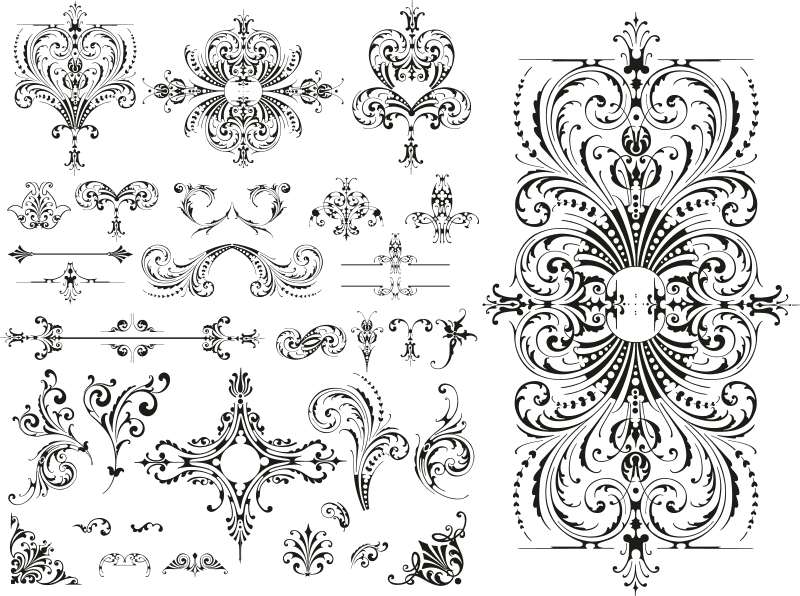 Wedding Floral Lace Pattern Vector Free Vector