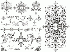 Wedding Floral Lace Pattern Vector CDR File