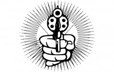 Hand With Pistol Cartoon dxf File