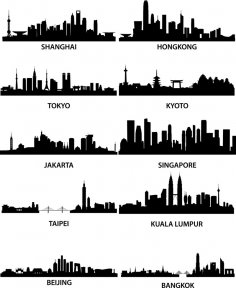 City Silhouette Vectors Set Eps File