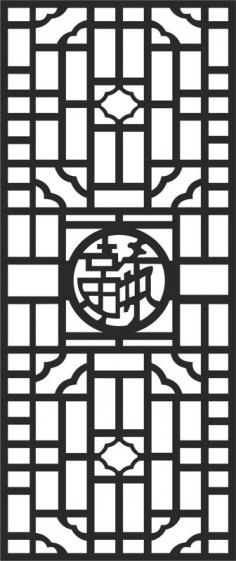 Chinese style screen decoration vector dxf File