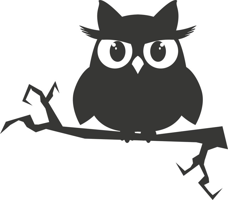 Owl on a branch sticker vector