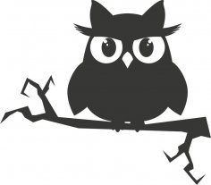 Owl on a branch sticker vector Free Vector