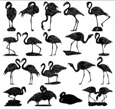 Flamingos Vectors Package DXF File