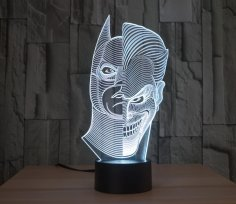 Batman Joker Morphing 3D LED Illusion Lamp Free Vector