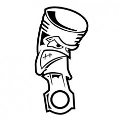 Angry Piston JDM Car Vinyl Sticker Decal dxf File