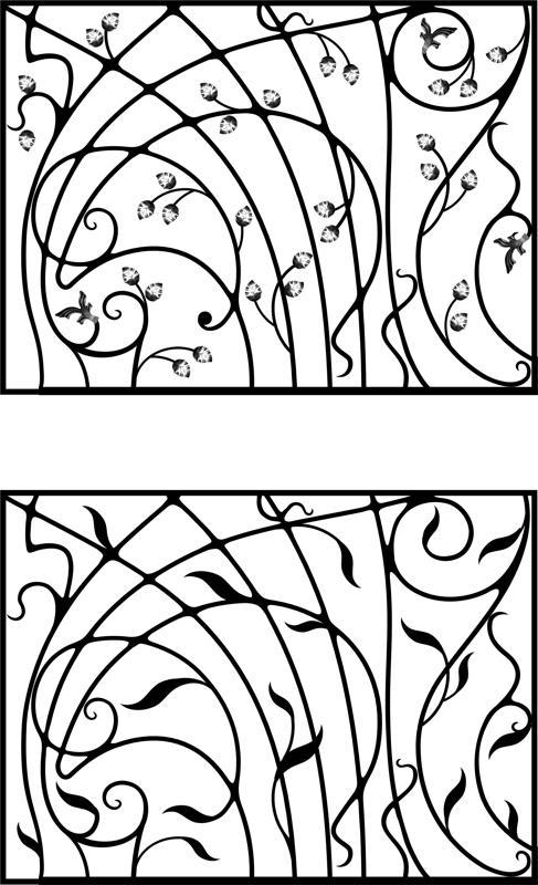 Wrought Iron Gate, Door, Fence, Window, Grill, Railing Design Vector Art Free Vector