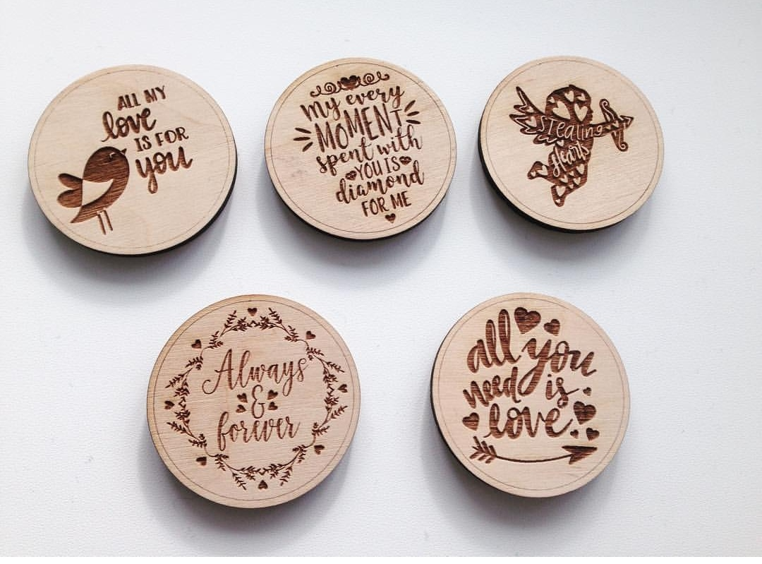 Wooden Magnets Laser Engraved Free Vector