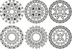 Ornament Circle Vectors Set Free Vector