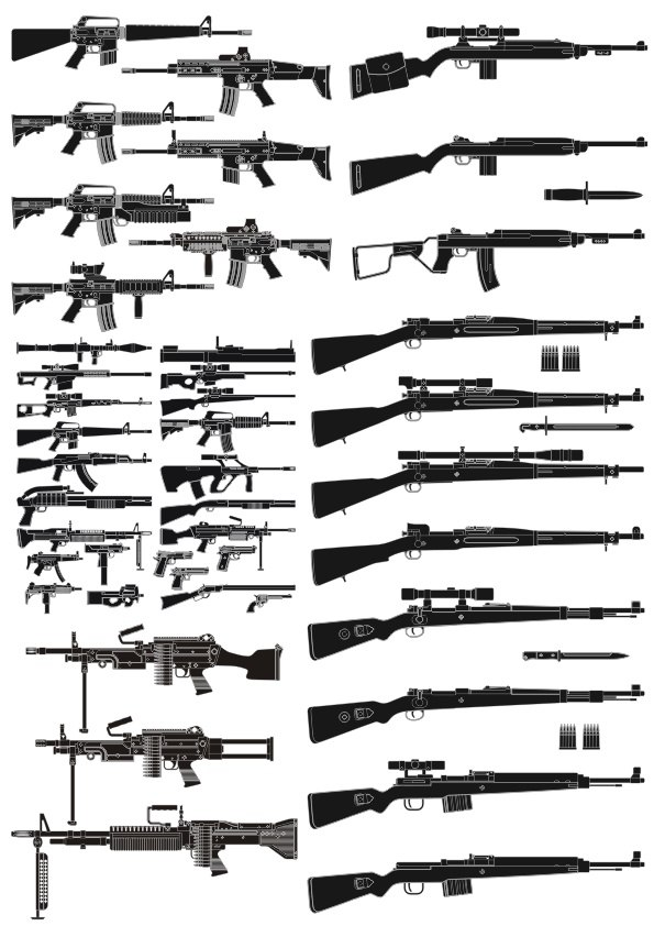 Weapons Silhouettes Free Vector