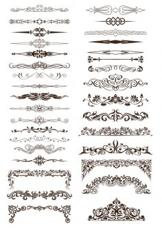 Ornate Vintage Borders and Rule Lines Free Vector
