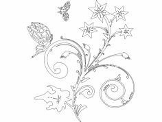 Flower with Butterfly dxf File
