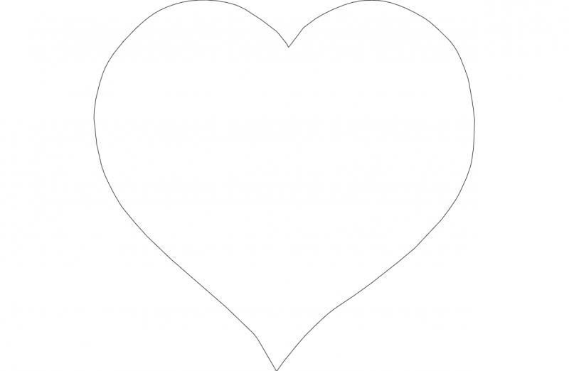 Heart Outline Vector dxf File