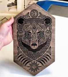 Laser Cut Engrave Bear Wall Mural Free Vector