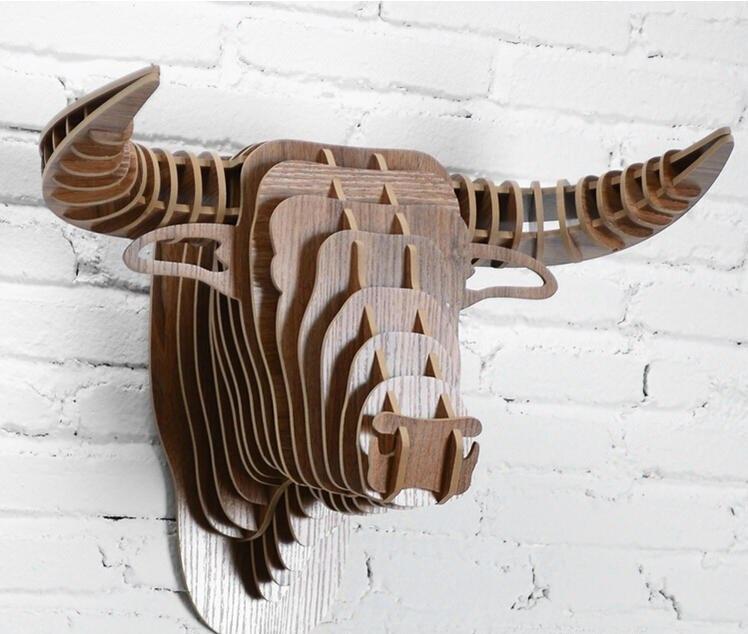 Laser Cut Bull Head Wall Decor 3D Animal Head Free Vector