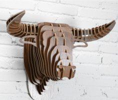 Laser Cut Bull Head Wall Decor 3D Animal Head Free Vector