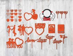 Laser Cut Valentine Cupcake Toppers Free Vector
