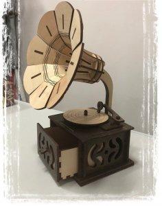 Laser Cut Wooden Gramophone 3D Model Free Vector