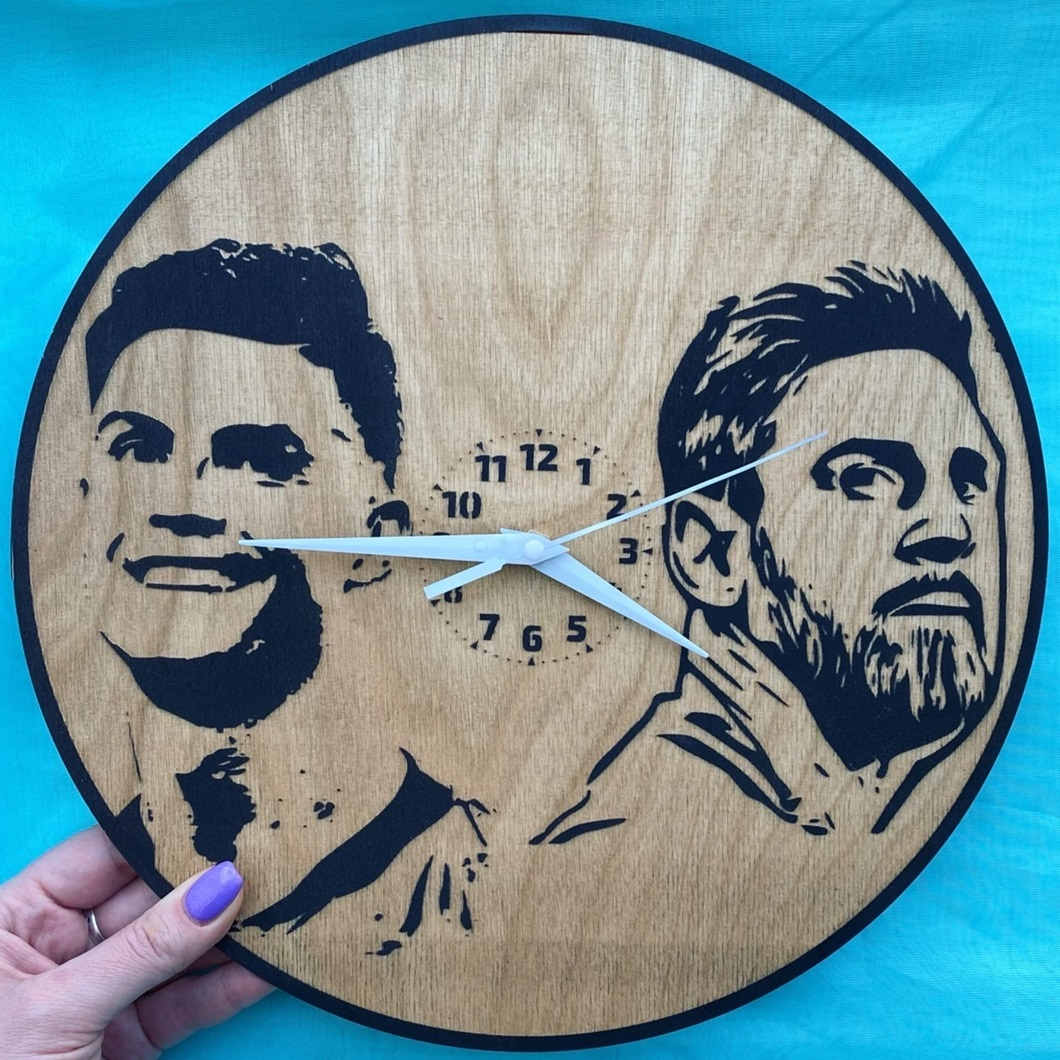 Laser Cut Engraved Messi Ronaldo Exclusive Wall Clock Free Vector