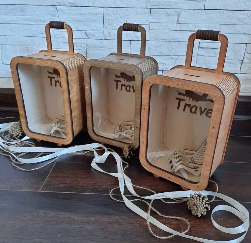 Laser Cut Piggy Bank Suitcase Travel Money Box Free Vector