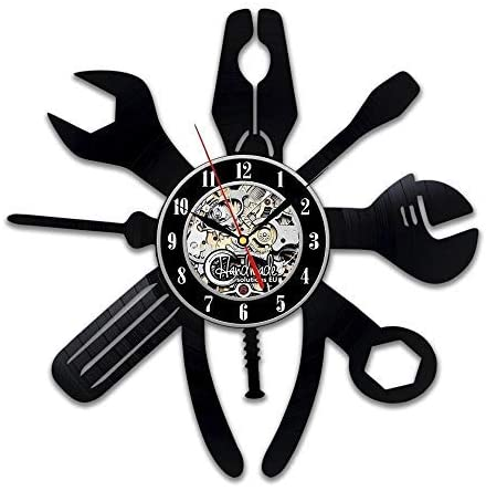 Laser Cut Repair Tools Wrench Pliers Vinyl Record Wall Clock DXF File