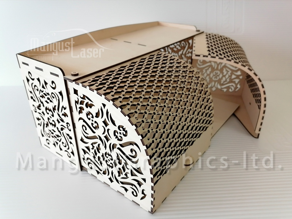 Laser Cut Wood Bread Box With Front Opening Doors Free Vector