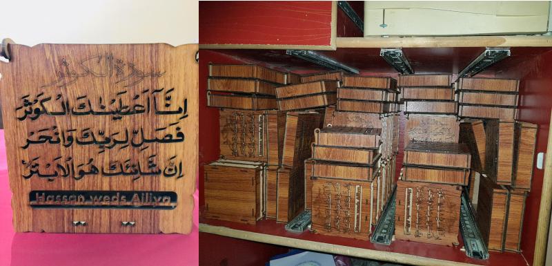 Arabic Wedding Invitation Card Box DXF File