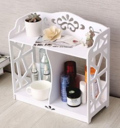 Laser Cut Bathroom Vanity Shelf Storage Rack Free Vector