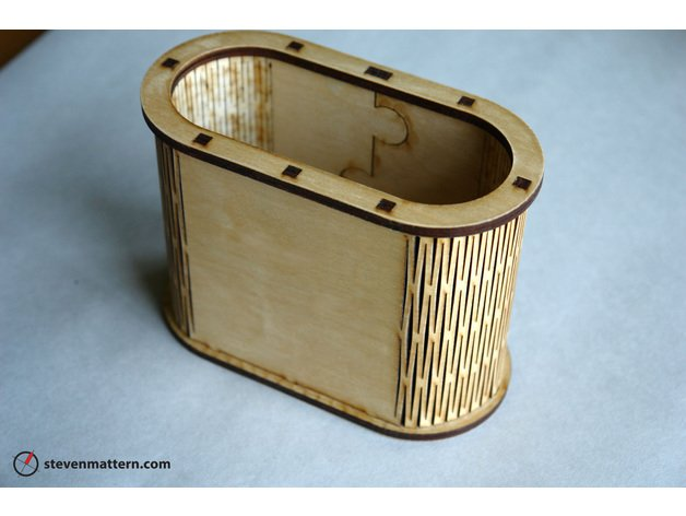 Laser Cut Living Hinge Container Pen Holder DXF File