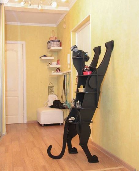 Laser Cut Cat Standing Shelf 10mm DXF File