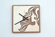 Laser Cut Wooden Wall Clock Home Decor Free Vector