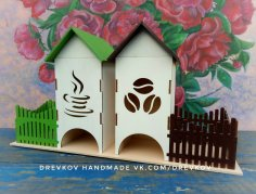 Laser Cut Tea Bag House Template DXF File