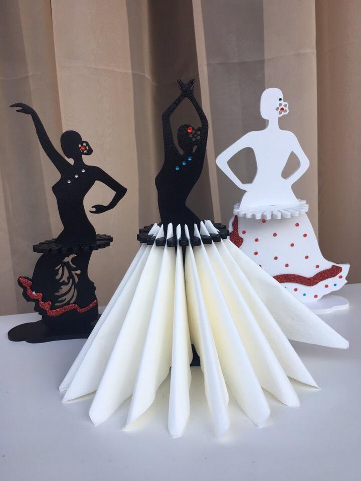 Laser Cut Flamenco Napkin Holder Collection Free Vector