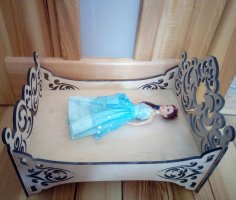 Laser Cut Wooden Barbie Doll Bed Free Vector