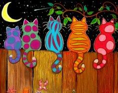 Laser Cut Cat Fence Peekers Yard Decoration Free Vector