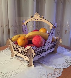 Laser Cut Wooden Decorative Fruit Basket Free Vector